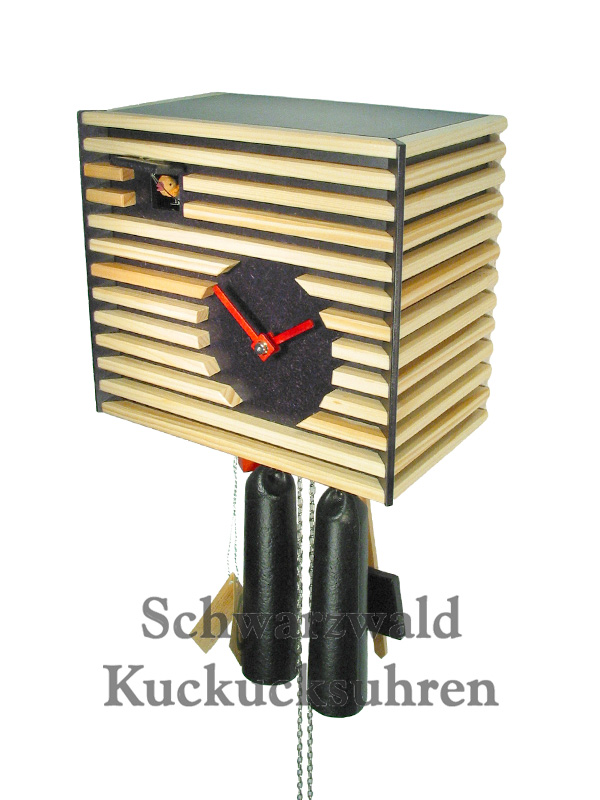 kuckucksuhr modern bauhaus stil schwarz 8 tag werk neu ebay. Black Bedroom Furniture Sets. Home Design Ideas